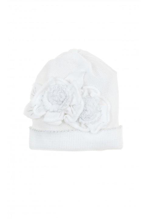Biała czapeczka niemowlęca dla dziewczynki do chrztu, Aletta