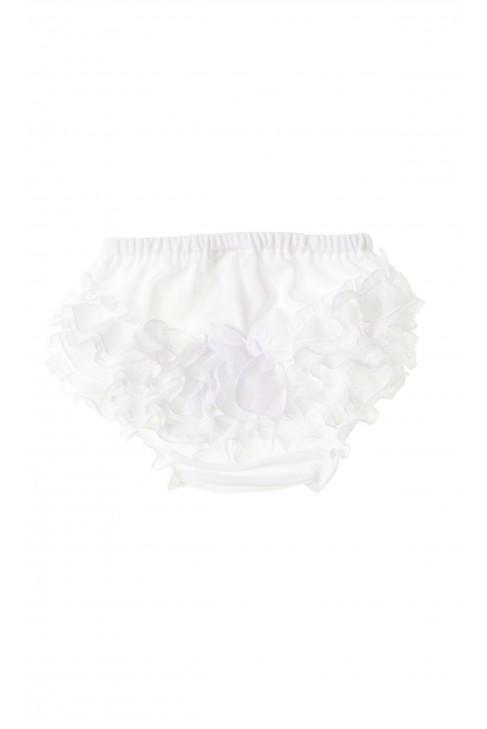 Białe majteczki niemowlęce z falbankami dla dziewczynki do chrztu, Aletta