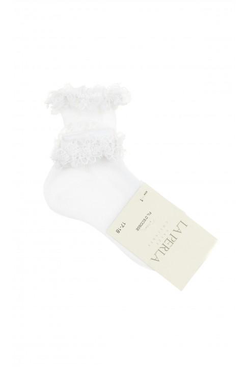Białe skarpetki dziewczęce z dekoracyjną koronką, La Perla