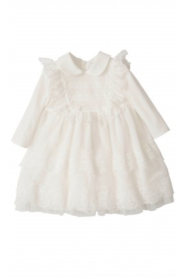 Mleczno-biała sukienka do chrztu z długim rękawem, Aletta