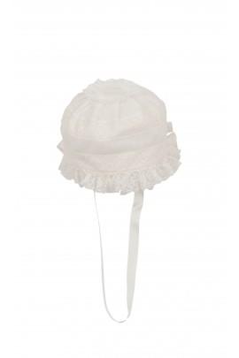 Kapelusik czepek biały  do chrztu, Aletta
