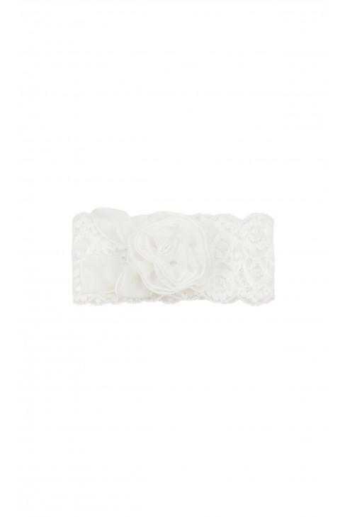 Opaska biała koronkowa z kwiatem do chrztu, Aletta