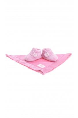 Różowe kapcie niemowlęce zapinane na rzep, UGG