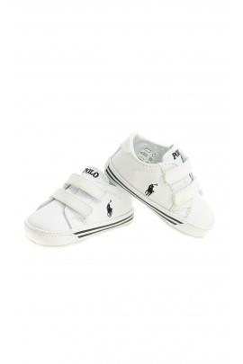 Białe buciki niemowlęce na rzepy, Polo Ralph Lauren