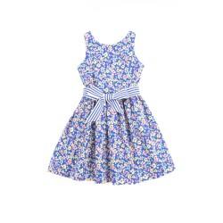 Niebieska sukienka w różowo-żółte kwiaty, Polo Ralph Lauren