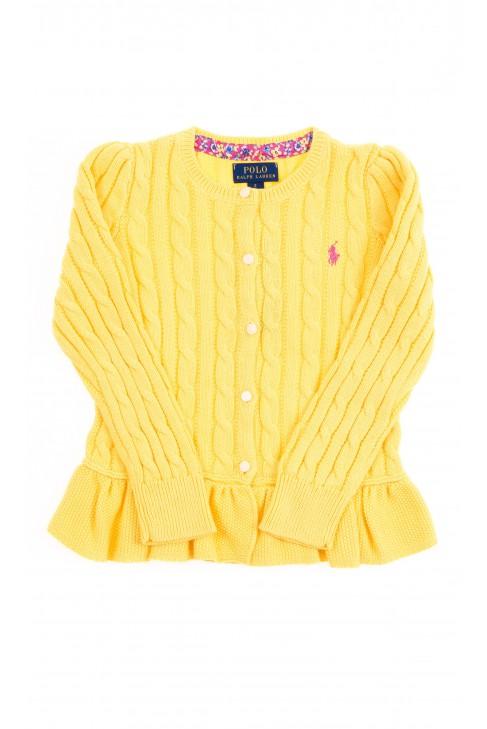 Żółty sweter rozpinany z przodu z falbanką, Polo Ralph Lauren