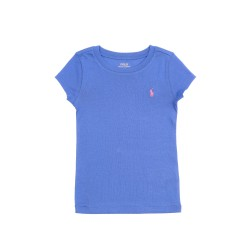 Szafirowy t-shirt dziewczęcy na krótki rękaw, Polo Ralph Lauren