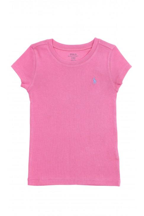 Różowy t-shirt dziewczęcy na krótki rękaw, Polo Ralph Lauren