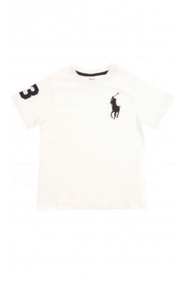 Biały t-shirt chłopięcy z dużym granatowym konikiem, Polo Ralph Lauren