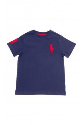 Granatowy t-shirt chłopięcy na krótki rękaw z dużym czerwonym konikiem, Polo Ralph Lauren