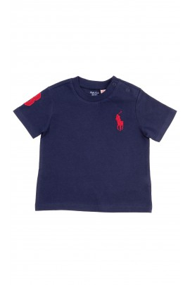 Granatowy t-shirt niemowlęcy na krótki rękaw, Polo Ralph Lauren