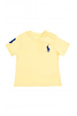 Żółty t-shirt niemowlęcy na krótki rękaw z dużym konikiem, Polo Ralph Lauren