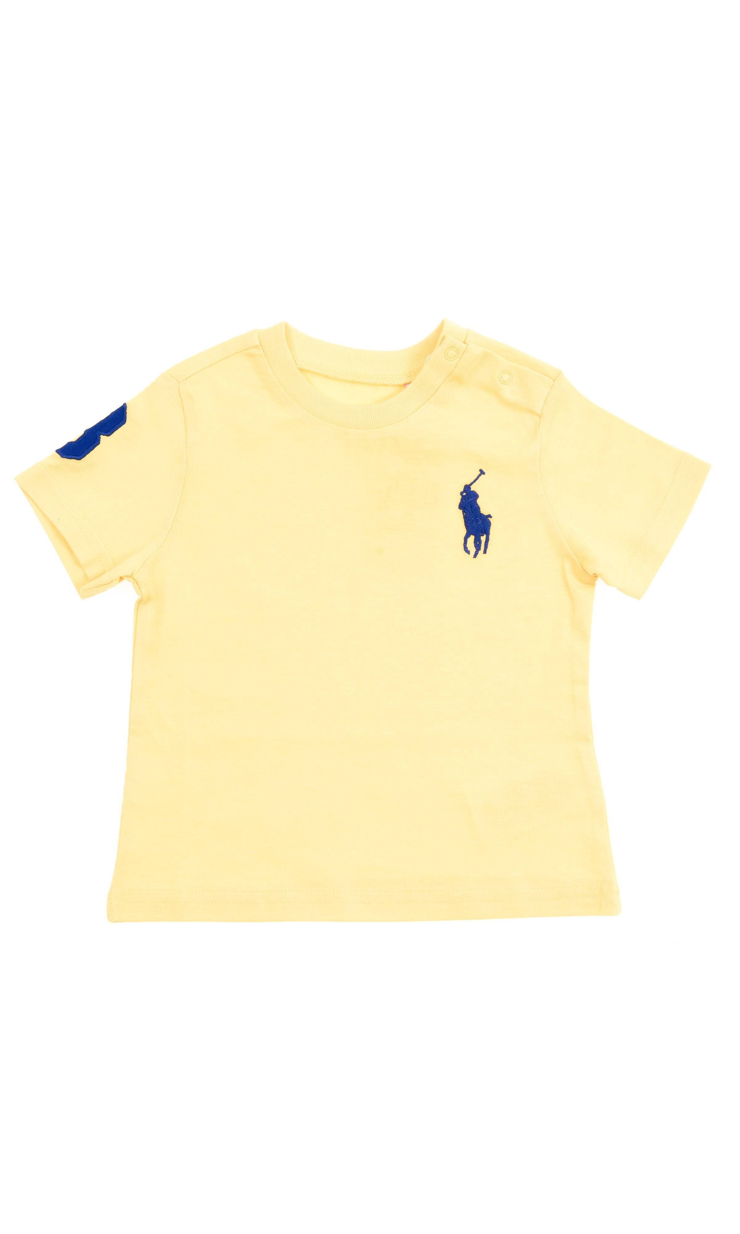 Żółty t-shirt niemowlęcy na krótki rękaw z dużym konikiem 08cd002b90f