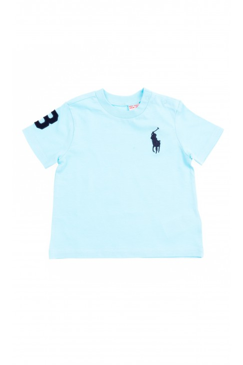 Turkusowy t-shirt niemowlęcy na krótki rękaw, Polo Ralph Lauren
