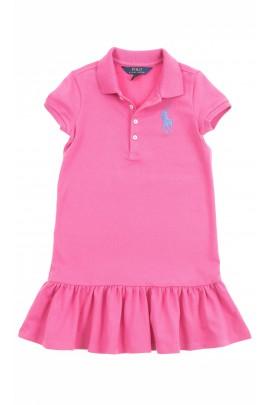 Różowa sukienka z falbanką na dole, Polo Ralph Lauren