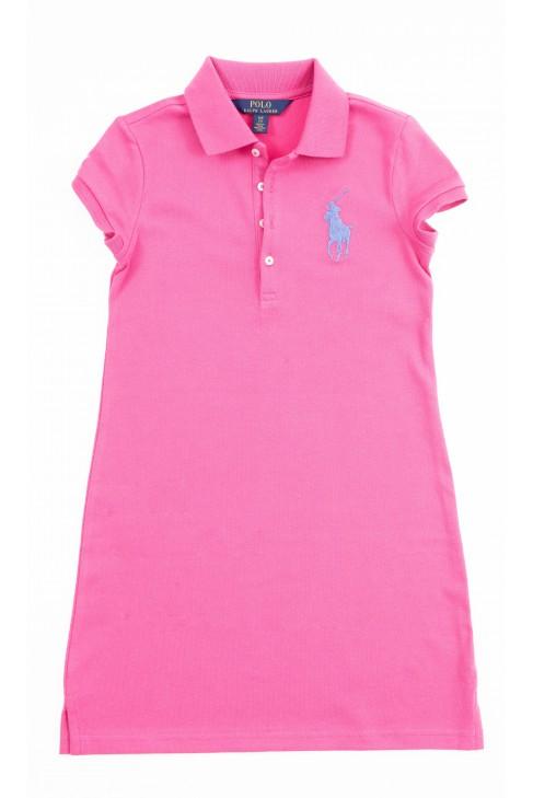Prosta różowa sukienka dziewczęca, Polo Ralph Lauren