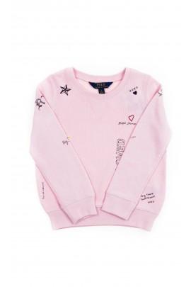 Różowa bluza dresowa z nadrukiem dla dziewczynki, Polo Ralph Lauren