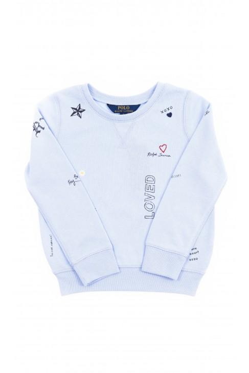 Niebieska bluza dresowa z nadrukiem dla dziewczynki, Polo Ralph Lauren