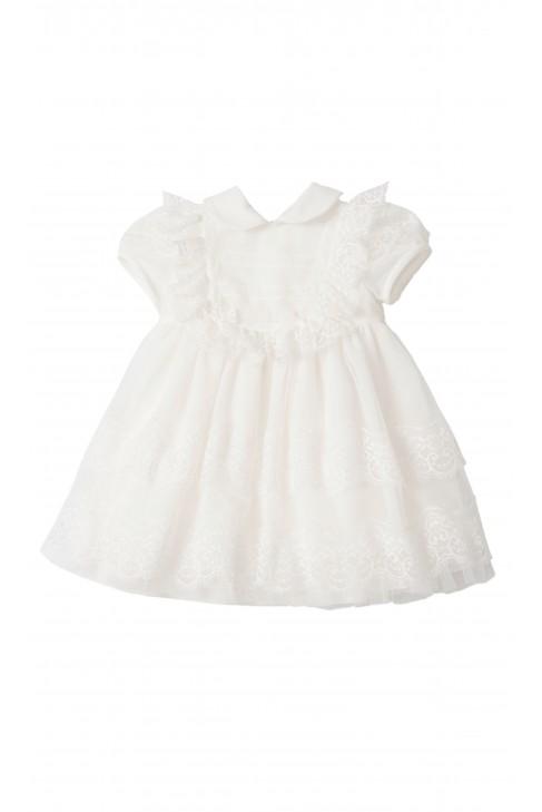 Mleczno-biała sukienka do chrztu z krótkim rękawem, Aletta
