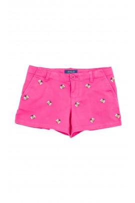 Krótkie różowe spodenki dziewczęce, Polo Ralph Lauren