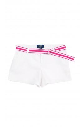 Krótkie białe spodenki dziewczęce z biało-różowym paskiem, Polo Ralph Lauren