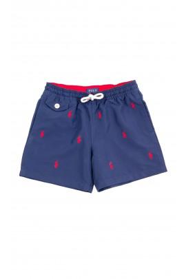 Granatowe szorty kąpielowe w czerwone koniki dla chłopców, Polo Ralph Lauren