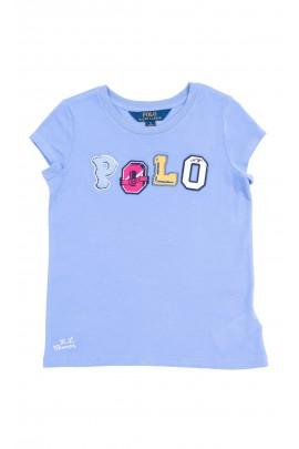 Niebieski t-shirt dziewczęcy z kolorowym napisem POLO na krótki rękaw, Polo Ralph Lauren