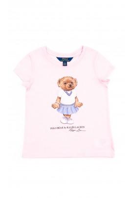 Różowy t-shirt dziewczęcy z przodu z dużym rysunkiem misia, Polo Ralph Lauren