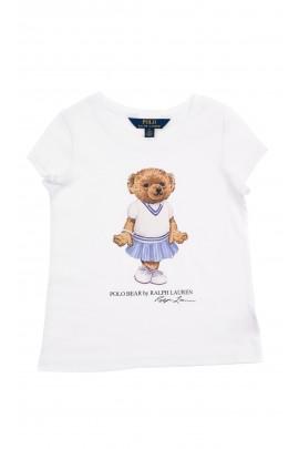 Biały t-shirt dziewczęcy z przodu z dużym rysunkiem misia, Polo Ralph Lauren