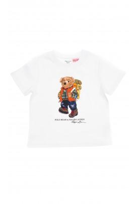 Biały t-shirt chłopięcy z przodu z dużym kolorowym misiem, Polo Ralph Lauren