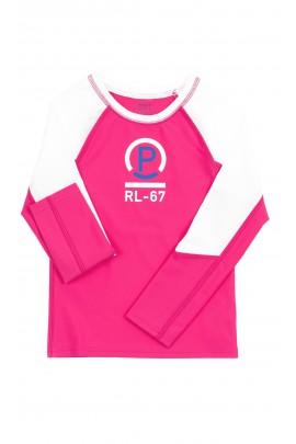 Biało-różowa koszulka dziewczęca do uprawiania sportu, Polo Ralph Lauren
