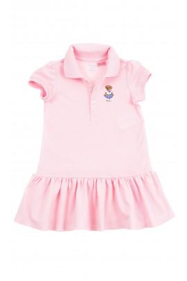 Różowa bawełniana sukienka dziewczęca z falbanką na dole, Polo Ralph Lauren