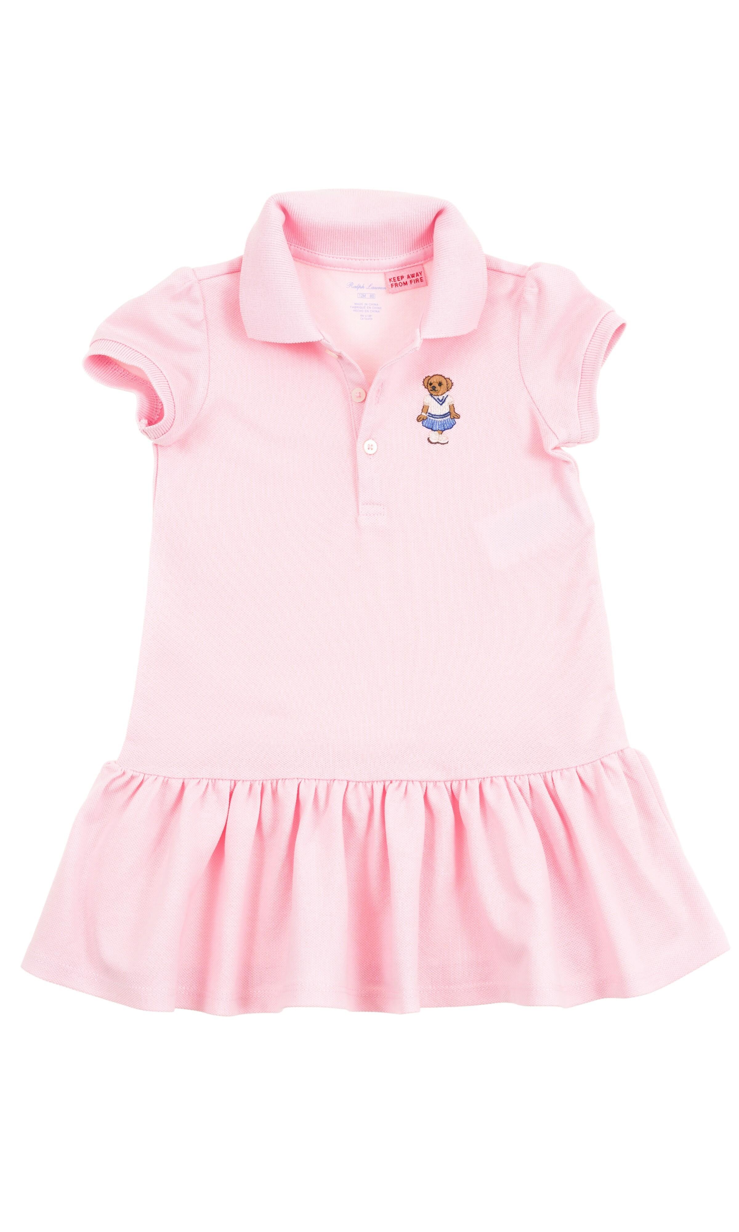 f2780d3bff Różowa bawełniana sukienka dziewczęca z falbanką na dole