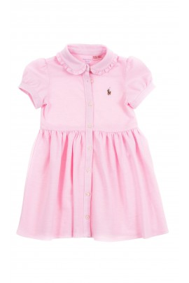 Różowa sukienka bawełniana odcinana w pasie, Polo Ralph Lauren