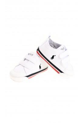 Białe sportowe buciki niemowlęce na rzepy, Polo Ralph Lauren