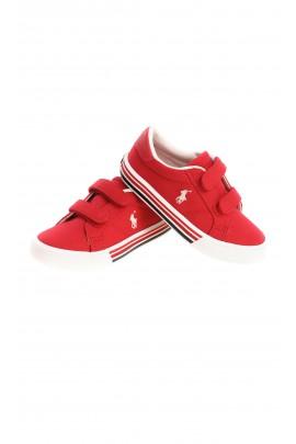 Czerwone tenisówki dziecięce na rzepy, Polo Ralph Lauren