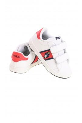 Białe sportowe buty dziecięce zapinane na rzepy, Polo Ralph Lauren