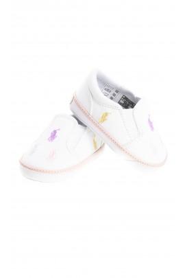 Białe płócienne wsuwane buciki niemowlęce w koniki, Ralph Lauren