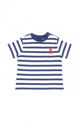 T-shirt chłopięcy w biało-granatowe paski, Polo Ralph Lauren