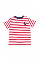 T-shirt chłopięcy w biało-czerwone paski, Polo Ralph Lauren