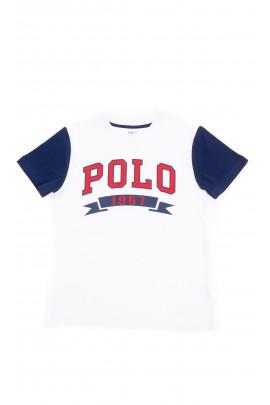 Biały t-shirt chłopięcy z przodu z napisem POLO, Polo Ralph Lauren