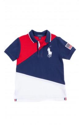 Koszulka POLO chłopięca czerwono-granatowo-biała, Polo Ralph Lauren