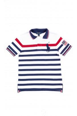 Koszulka POLO chłopięca biała w granatowe poziome paski, Polo Ralph Lauren