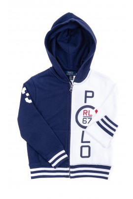 Bluza chłopięca biało-granatowa z kapturem, Polo Ralph Lauren