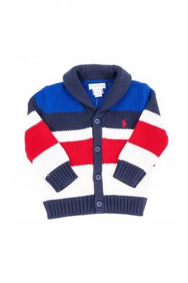 Sweter niemowlęcy w kolorowe pasy rozpinany, Ralph Lauren