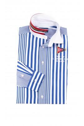 Elegancka koszula chłopięca w pionowe niebiesko białe paski, Polo Ralph Lauren