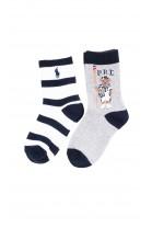 Skarpetki chłopięce 2-pak szare i w biało-czarne paski, Polo Ralph Lauren