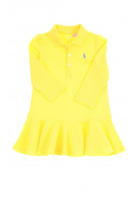 Żółta sukienka niemowlęca z długim rękawem, Ralph Lauren
