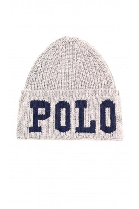 Ciepła szara wciągana czapka, Polo Ralph Lauren