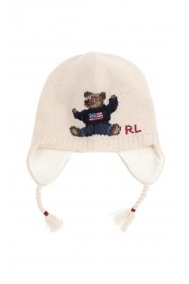 Ciepła czapka niemowlęca z kultowym misiem, Ralph Lauren